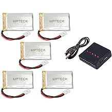 MPTECK @ Batería Lipo de repuesto 3,7V 750mAh x5 + 5 en 1 Cargador para RC Cuadricóptero Syma X5 x5C x5C-1 X5SC X5SW Drone