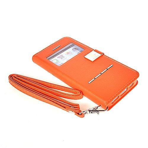 iPhone 6 Plus Coque,COOLKE [Noir] Flip Case Mince de fen¨ºtre de Etui Housse Coque Cover pour Apple iPhone 6 Plus (5.5 inch) Orange