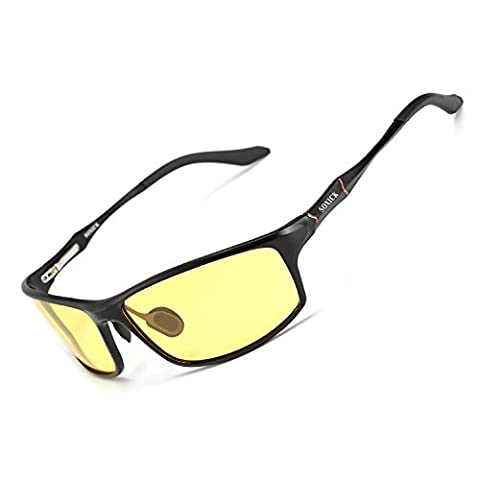 SOXICK® Men's HD Polarized Night Driving Glasses Anti Glare Safety Glasses (Black Frame-Yellow Lens-2)