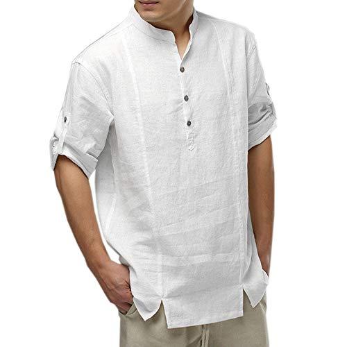 TEBAISE Herren Leinen Baumwolle Langarmshirt Henley Shirt Freizeithemd Regular Fit Kragenloses T-Shirt Hemd Strand-Hemden(Weiß,L)