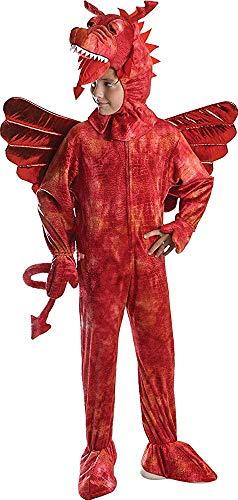 Drachen Märchen Kostüm (Kinder Merlin Märchen Kostüm Buchwoche Outfit Roter Drache Kostüm - Rot,)