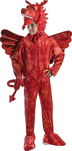 Kinder Kostüm Merlin - Kinder Merlin Märchen Kostüm Buchwoche Outfit Roter Drache Kostüm - Rot, 140cm