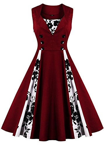 oriention Frauen Sommer 50s Vintage Retro ärmellos Hausfrau Rockabilly Abend Party Cocktail Swing Kleid Gr. 22, Sleeveless-Wine (Kleid Plus Dot Polka Red Size)
