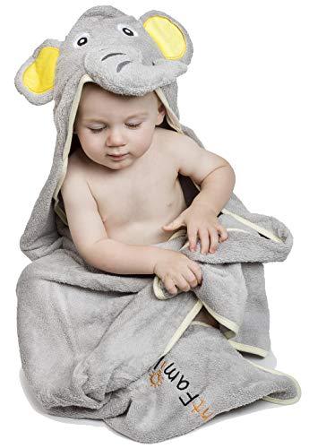 Luxus Baby Kapuzenhandtuch | Grauer Elefant Badetuch | Extra Sanft 100% Ägyptische Baumwolle für Neugeborene und Kinder | Tolles Geschenk für Zuhause, Bad und Strand | EXTRA GROSS 100 x 75cm! (Luxuriöse Ägyptische Baumwolle-bad)