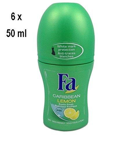 """6 x Fa Deo Roll-on für Frauen """"Caribbean Lemon"""" - 50 ml"""