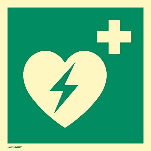 Hinweisschild auf einen Defibrillator (AED Automatisierter externer Defibrillator) PVC HIGHLIGHT 20 x 20cm gemäß ASR A 1.3/BGV A8/DIN 4844 -