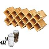 Étagère à épices en bambou, 18 bocaux, rangement à épices sur pied 45,7 x 19,1 x 7,6 cm