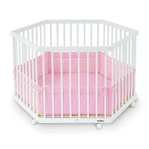 Laufgitter 6-eckig, Buche, weiß lackiert, inklusive Laufgittereinlage Amelie rosa (Baby-rosa Laufstall)