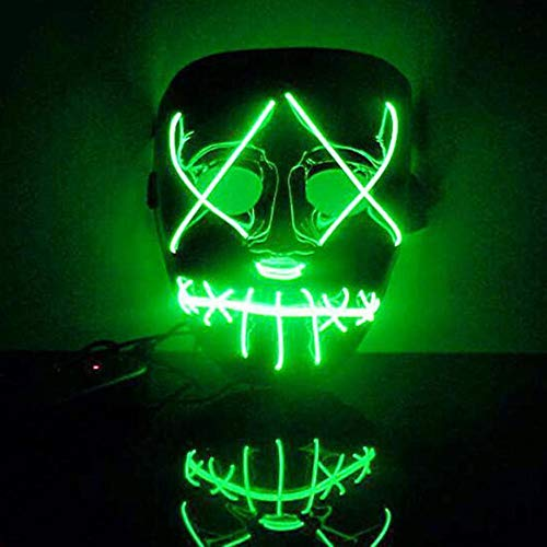 Zhen+ Halloween Masken Festival Party Cosplay Maske LED Leuchten Maske Karneval Maske Halloween Accessoires Grimasse Maske für Festival Party Cosplay in der Dunkelheit Blau ()