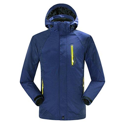 Dihope Femme Homme Jacket Veste Coupe-Vent 3-en-1 Imperméable Softshell à Capuche Doublé Polaire pour Ski Camping Randonnée Cyclisme Activité Bleu foncé