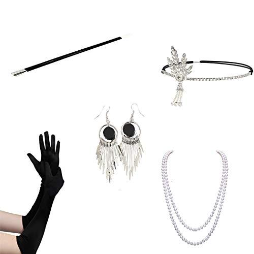Zubehör Requisiten Halloween Kostüme Prom Party Halskette Lange Zigarettenspitze Feder Kopf mit Handschuhen 4/5-teiliger Anzug für Frauen ()