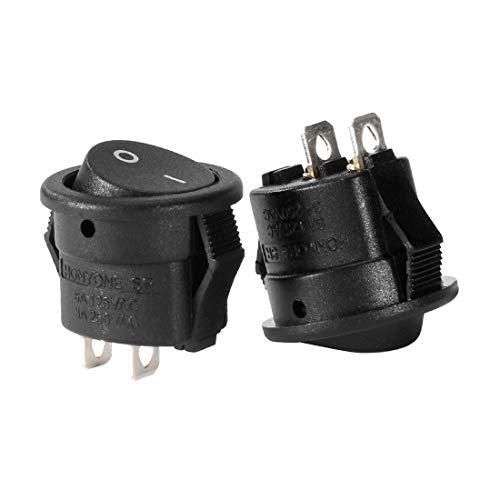 ZCHXD 10Pcs Small Round SPST Boat Rocker Switch Black AC 250V/3A 125V/6A 2 Position -