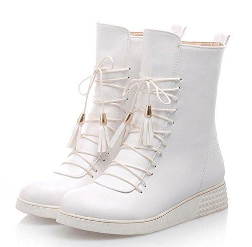 Aisun Damen Flach Schule Frisch Farbe Martin Schnürsenkel Chukka Boots Weiß 42 EU N1zJQkTS