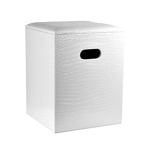 Tabouret de pied avec couvercle Pouf de rangement carré Pouf repose-pieds rembourré Siège en cuir PU Habillage du siège de maquillage pour couloir Salon en blanc Max. 150kg 30X30X40m