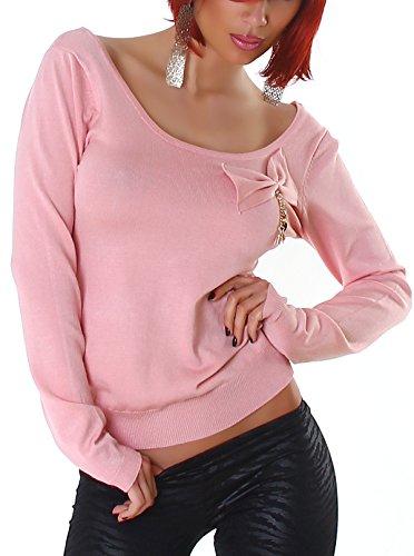 Jela London Pullover Sweatshirt Longsleeve großer Ausschnitt Dekolleté Schleife, Rosa