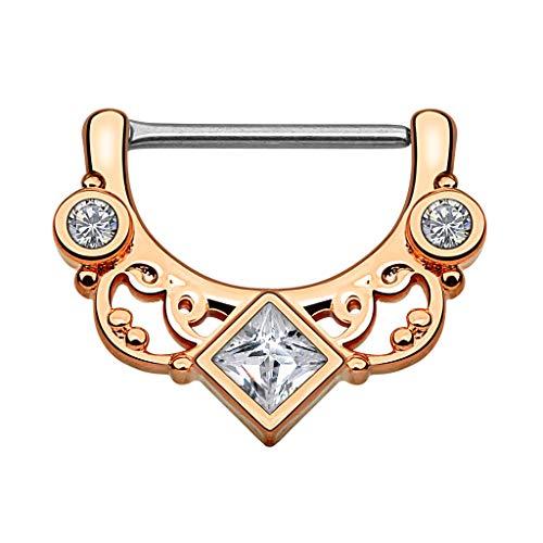 Piercingfaktor Brustpiercing Brustwarzen Intimpiercing Nippelpiercing Barbell Intim Nippel Brust Piercing Clicker Ring Tribal Kristall Quadrat Rosegold