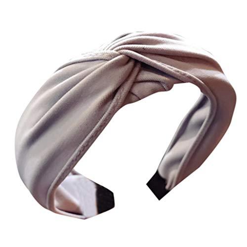 SEWORLD Damen Stirnbänder Haarband Yoga Headband Hairband Damen Stoff Haarreif mit Schleife Vintage Wunderschön Stirnband,Haarschmuck Haarreif Schleife Wunderschön Stirnband(Grau) -
