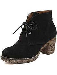 Mujeres Cortas Botines de Felpa Plataforma Redonda Puntera Tacones Altos Encaje Zapatos de Invierno otoño Invierno
