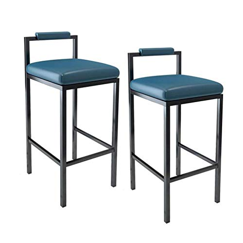 LXYPLM Barhocker Barstuhl Tresenhocker Satz von 2 Esszimmer Höhe Stuhl Metall Kunstleder Sitz Theke Pub Cafe Küche Restaurant (Color : Blue, Size : 45cm) (Höhe Theke Stühle Restaurants)