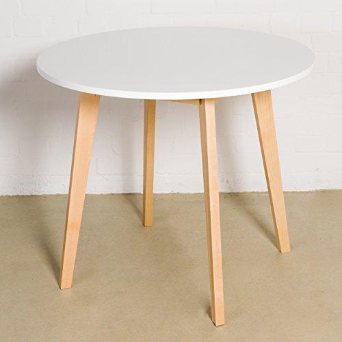 Esstisch Weiß rund Ø 90 x 75 cm Holzbeine Esszimmertisch Tisch Retro Retrolook Skandinavisch