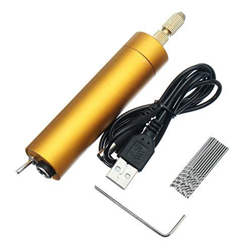 Zitainn Elektrische Handbohrmaschine Kit , 5V DC Mini Aluminium Elektromotor Handbohrmaschine + 10 Stück Spiralbohrer DIY für Holz PCB
