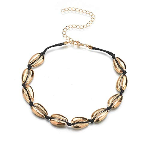 TINGSU Halsketten Damen Cowries Strand Halskette Natur Muschel Holz Perlen Bohemian Fußkettchen Armband ()
