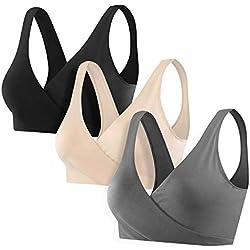 Wirezoll Soutien Gorge d Allaitement, Coton Femme Soutien-Gorge de Maternité sans Couture pour Enceinte Femme/Allaitant/Sommeil (Ardoisé + Noir + Beige(3Pack), XXL)