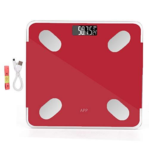 Intelligente Bluetooth-Körperfettwaage Digitale intelligente Gewichtswaage Zur Verwendung mit der Smartphone-APP. Bequemer USB-Anschluss(红色)