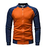 Xmiral Herren Jacke Mantel Herbst Winter Langarm Stehkragen Farbabstimmung Top (L,Orange)