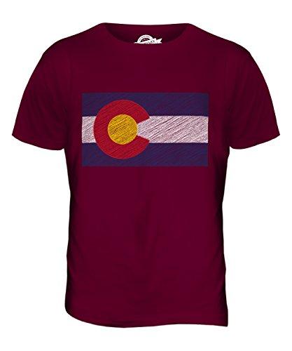 CandyMix Bundesstaat Colorado Kritzelte Flagge Herren T Shirt Burgunderrot