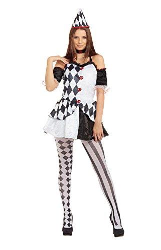 Damen Harlekin weiblich Kostüm für Clown Circus Hofnarr Kostüm Outfit Erwachsene (Circus Kostüme Für Erwachsene)