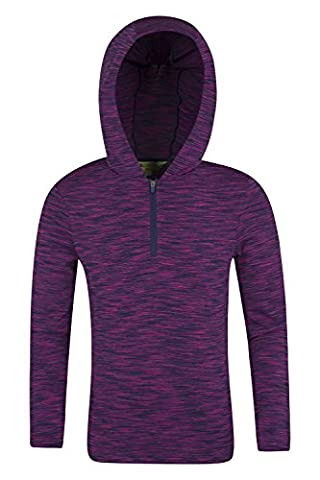 Mountain Warehouse Bella Half-Zip Kids Hoodie - Lightweight & Soft Stretch Fabric with Easy Care & Half Zip for Extra Ventilation - Ideal for Active Use Purple 7-8