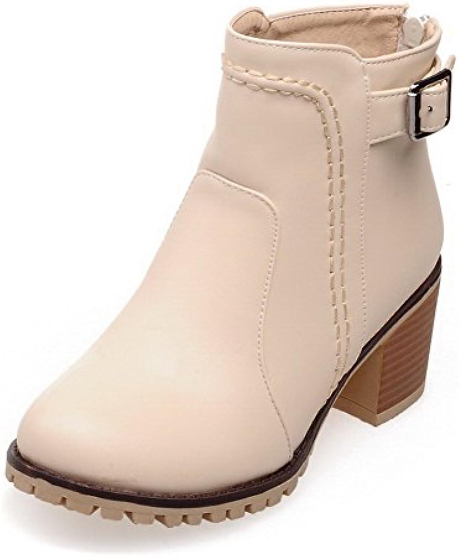 6dce752db13 AgooLar Boots Women s Parent Zipper Kitten Heels PU Solid Zipper Low-top  Boots B01MQ60O97 Parent e27b996