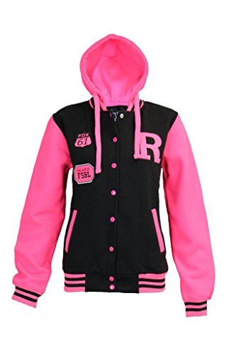 Kids Girls & Boys Unisex R Baseball Jacket Varsity withHoodie Neon Pink Sleeve 9-13 YRS (11/12 YEARS, Black)