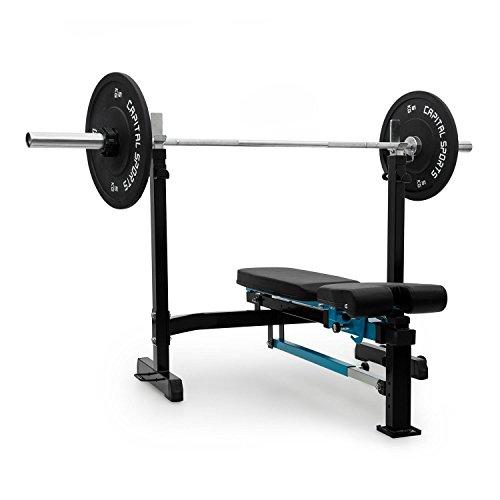 Capital Sports Benchex • Hantelbank • Schrägbank • Gewichtsablage höhenverstellbar • Schräg- und Flachbank • Tragkraft: max. 300 kg • Kunstlederbezug • Stahlrahmen • klappbar