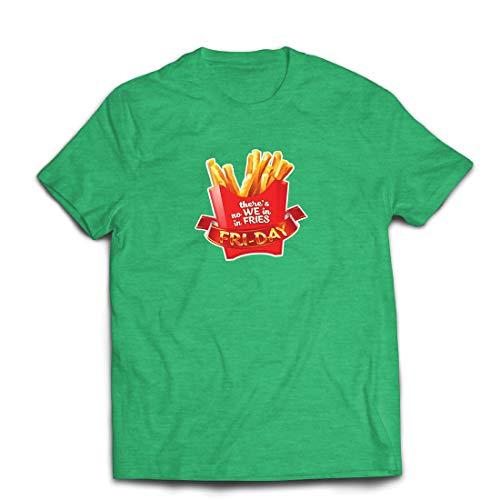 lepni.me Männer T-Shirt Es gibt Keine wir in Pommes Freitag Outfit Junk Food Liebhaber (Medium Heidekrautgrün Mehrfarben)