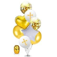 Idea Regalo - Oblique Unique® Set di Palloncini a Forma di Croce con Cuore e Stella, per Battesimo, Comunione, cresima, Compleanno, Matrimonio, Anniversario, Colore Bianco/Oro