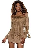 4904 Fashion4Young Damen Minikleid im Fransen-Look Kleid dress verfügbar in 5 Farben Gr. 36/38