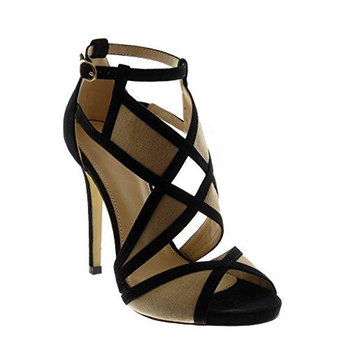 Angkorly - Scarpe Moda Sandali Decollete con Tacco Stiletto Peep-Toe con Cinturino alla Caviglia Donna Bicolore Tanga Tacco Stiletto Alto 11.5 CM - Nero 628-175 T 37