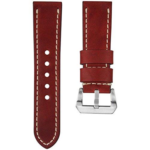 Kaizen R-17 Echtes, geöltes USA Leder Uhrenarmband, Elfenbein Naht & Pre-V Schließe, Vintage Rot, 26mm