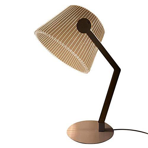 3D stereoskopische LED Tischlampe Holzbügel Acryl Lampenschirm mit USB Stecker LED Licht für Wohnzimmer Schlafzimmer Leselampe -