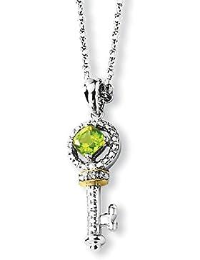 Sterling-Silber 14 kt Rohdiamant und Peridot Halskette Schlüssel 17 Zoll-JewelryWeb
