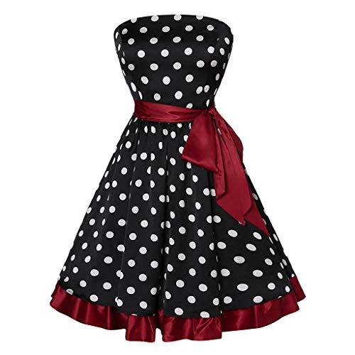 (Yanhoo 50Er Jahre Kleid Damen Plus Size 1950Er Cocktailkleid Jahrgang Kleider Rockabilly Vintage Polka Dots Blumendruck Bodycon Abschlussball äRmellos Casual Abend Prom Swing)