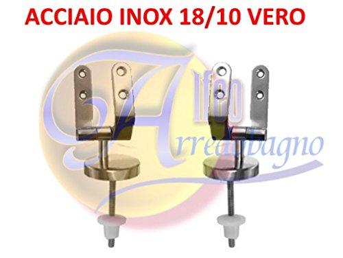 Cerniere coprivaso sedile wc copriwater di ricambio universali in acciaio inox (coppia) con viti