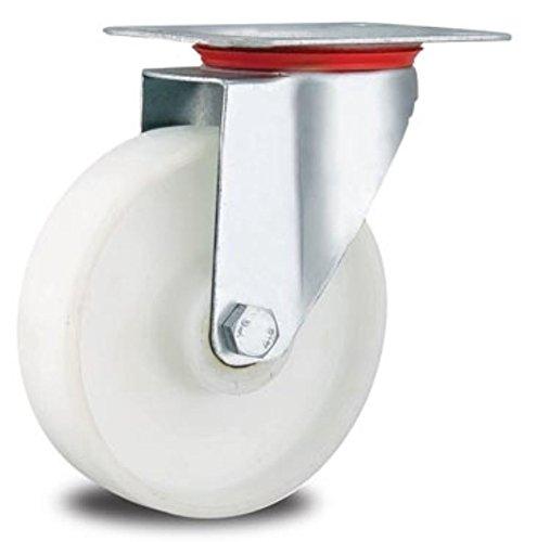 Rolle Bockrolle 200mm Lenkrolle Transportrolle Laufrolle weiß Kunststoff Plastikrolle (Lenkrolle 200 mm)