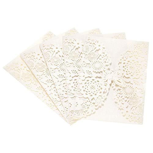 Yiqiane Hochzeitseinladungskarten, Abdeckung Laser Cut Flower Lace Einladungsvorlage Karton für Bridal Baby Shower, Geburtstagsfeier 20St -