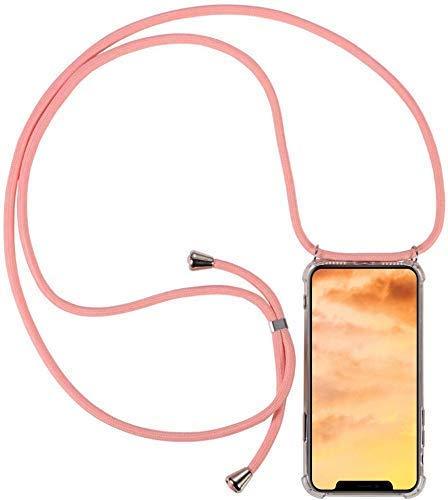 Herbests Kompatibel mit Huawei P Smart 2018 Handykette Hülle mit Umhängeband Durchsichtig Necklace Hülle mit Kordel zum Umhängen Schutzhülle Silikon Handyhülle Kordel Schnur Case,Rosa