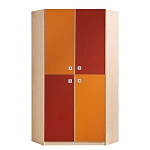 Wimex Armoire d'angle Sunny - Erable / Orange - rouge