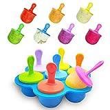 Ijslolly vormen, 7 Cavity Mini Siliconen Popsicle Moulds Ijs Makers Herbruikbare DIY Frozen voor kinderen, peuters en volwassenen Blauw