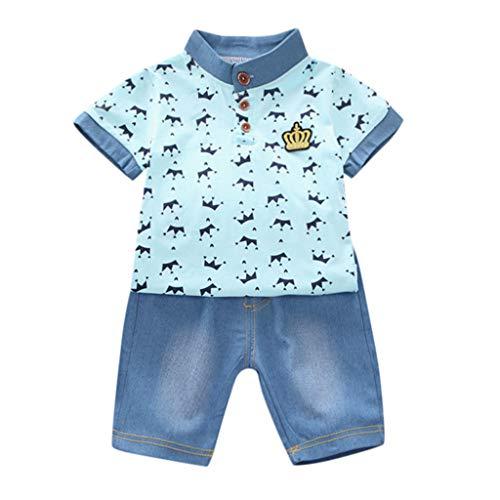 TTLOVE  Jungen Kleidung,Kleinkind Kinder Baby Langarm/Kurzarm Shirt Tops T-Shirt Aus Weicher Baumwolle+Jeans Denim Hosen/Shorts Outfit Bekleidung Set(Blau,120 cm,4-5 Jahre) -